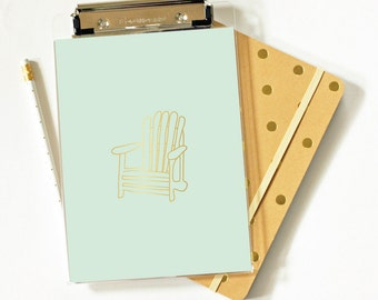 Clipboard - Adirondack Chair - Foil - Foil Clipboard  - Acrylic Clipbard - Office Supplies - Organization - Lake Living - Beach