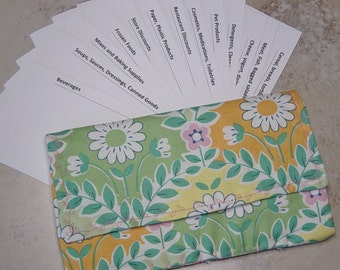 Coupon 0rganizer, Coupon Wallet, Grocery Shoppers Gift ,Green & Pink Floral Fabric, Cardstock Coupon Dividers,Coupon Case,Coupon Storage
