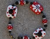 MOTHERSDAY SALE-A-Bration Magic Glove Disneyland Sra Lampwork Disney Inspired Mickey Minnie Mouse Style DeSIGNeR Bracelet Black N Red Polka