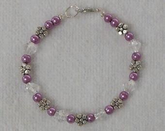 Girls Bracelet - Childs Bracelet - Beaded Bracelet For Girls - Children's Jewelry - Purple Bracelet - Flower Girl Bracelet