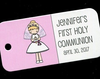 First Communion Favor Tags - Personalized - Girl - Gift Tags - Personalized Favor Tags - Girls Communion Tags - Pink - Blonde Hair