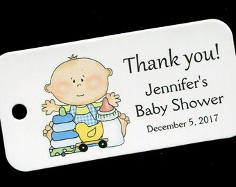 Baby Shower Favor Tags - Personalized Tag - Baby Boy - Gift Tags - Personalized Favor Tags - Thank You Tag - Baby Boy withToys