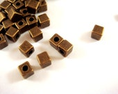 25 Bronze Cube Bead 4mm Antique Plated 2mm Hole LF - 25 pc - M7021-AB25