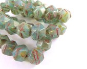 10 Aqua Opalite Picasso Beads Milky Blue Green Czech Glass Faceted Rough English Cut 10mm - 10 pc - G6078-MAP10