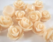 BOGO 10 Peach Rose Flower Cabochon Resin Bead 10mm - No Holes - 10 pc - CA2006-PE10 - Buy 1 pk, Get 1 Free - No coupon required