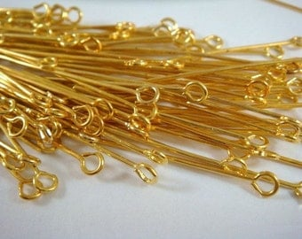 100 Eyepins Gold 2 inch Plated Iron (50mm), 21 Gauge - 100 pc - F4002EP-G2100