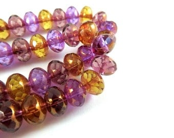 10 Czech Picasso Bead Purple, Amber, Topaz Faceted Glass Abacus Rondelle Bead Mix 8x6mm - 10 pc - G6041-AMY10