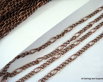 25ft Antique Copper Mother Son Figaro Chain LF/NF Plated Iron Lightweight Not Soldered - 25 ft - STR9038CH-AC25