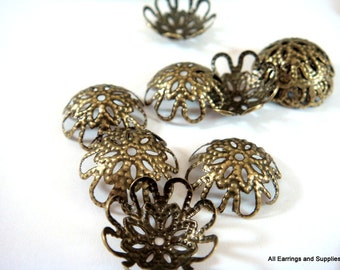 60 Antique Bronze Bead cap Flower Plated Iron NF 9-14mm - 60 pc - F4123BC-AB60-M