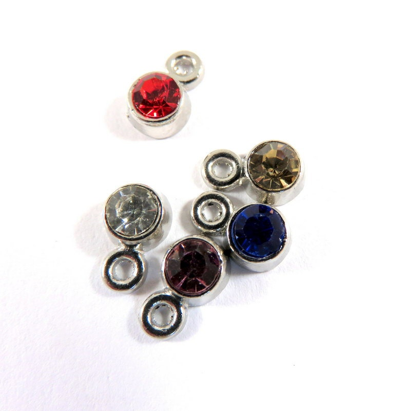 10 Rhinestone Drops Silver Plated Faceted Glass Stone