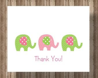 ELEPHANT  BABY SHOWER Thank You Cards Folded Notecards / Pink and Green Elephant Baby Shower Boxed Notecard Set for Girl Elephant Thank You