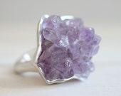 Amethyst ring. Sterling silver ring with Amethyst cluster. Druzy Amethyst, raw Amethyst, Amethyst cluster, statement ring, lavender.