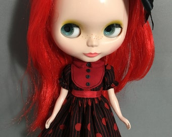 Blythe Dress, Goth Red and Black Dots and Stripes
