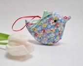Mini Bird Lavender Sachet, Fresh Blue Ditsy Floral Fabric Home Decoration, Gift Under 10