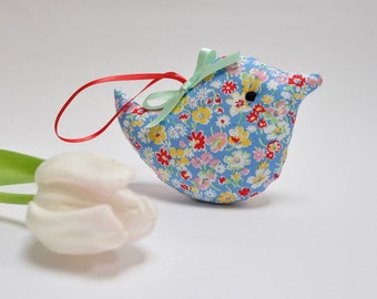 Mini Bird Lavender Sachet, Fresh Blue Ditsy Floral Fabric Home Decoration, Gift Under 10