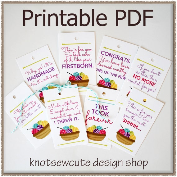 GIFT TAGS Crochet Printable PDF Instant Download By