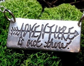 Adventure is Out There Hand-lettered Pendant