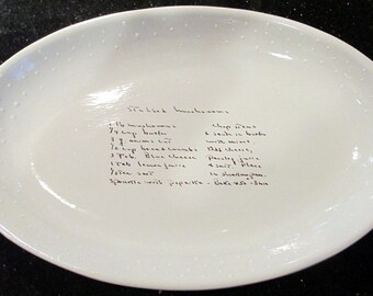 Oval Serving Dish Personalize With Your Recipe