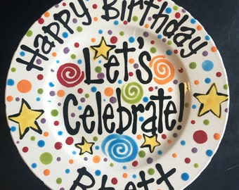 Hand Painted Personalized Celebrate Birthday Plate - Bright Primary Colors