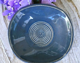 Stormy Blue Soap Dish - Rounded Square Stoneware Soap Dish, Bathroom Decor, Home Decor