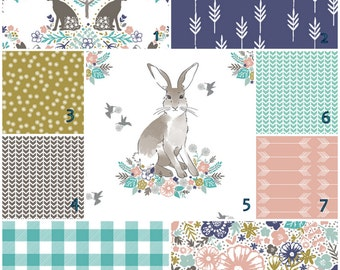 Cottontail Spring    crib bedding set  -   Modern Crib bedding set -  Design your own 3 pcs. SET Custom crib Bedding