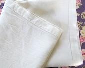 minimalist table topper . linen topper . minimalist  white linen cloth . hand stitched edges . linen cloth . square linen cloth