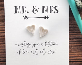 Quilled WEDDING hearts card // MR. & MRS.  ... Wishing you a lifetime of love and adventure // quilled wedding card // touch of gold
