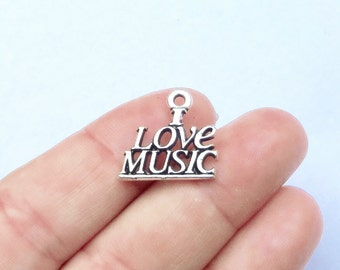 """10, """"I LOVE MUSIC"""" Charms 19x18x2mm, Hole: Approx 2mm"""