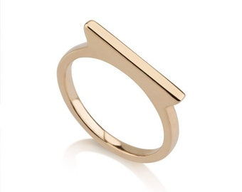 Tessa Ring, 14k solid gold, thin wedding ring, Modern wedding ring, minimalist wedding ring, unique wedding ring, delicate gold ring