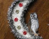 Owl Moon Cotton Tinsel Christmas Ornament