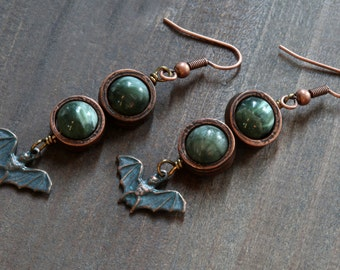 Goth - Earrings with Verdigris Antiqued Bat and Natural Saraphinite Stone