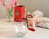 Vintage Nut Grinder Red with Meyercord Rose Decal