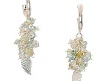 Sterling Silver Leaf and Aquamarine Cluster Earrings