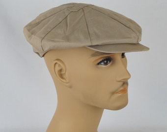 Vintage Newsboy Cap Khaki Twill 8 Panel Hat with Earflaps by Glen Allan Sz 22