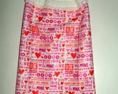 Be Mine Valentine Towel - Microfiber Hanging Towel - Crochet Top Towel - Valentines Day Kitchen Towel - Hanging Dish Towel - Tea Towel