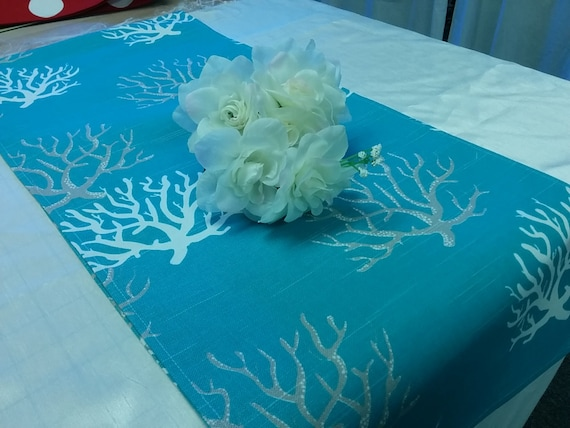 Sample sale runner 27 coral reef branches on aqua for Table coral sample