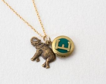 E Necklace - Initial Necklace - Letter E - Elephant Necklace - Elephant Locket - Personalized Necklace