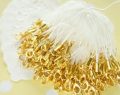 10 pcs Cell Phone Straps with Lobster Clasp Gold / White YU034