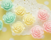 9 pcs  Pastel Rose Cabochon (25mm) FL427