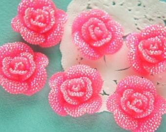 6 pcs Bling Rose Cabochon (29mm31mm) AB Hot Pink FL362