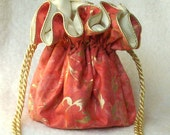 Ocean Treasure Jewelry Pouch, in coral and gold