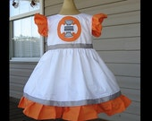 Star Wars BB8 Appliqued Girls Dress(-----)Flutter sleeves and Appliqued Panel(-----)Made to order sizes 12 months to Girls size 8