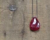 Ruby Teardrop Pendant on Oxidized Silver Chain