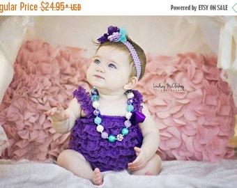 SALE Purple Lace Romper Headband Necklace SET, Cake Smash Outfit, Lavender and Blue Petti Romper And Baby Headband, Baby Outfit, Baby Photo