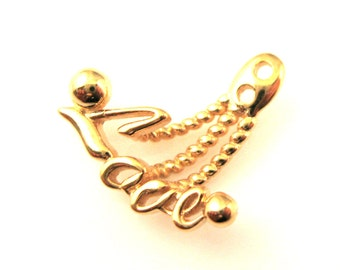 Gold plated Sterling Silver Love Pendant Charm,, Large Love Charm, Silver Necklace Charm,Double Hole Charm Unique Findings-  SKU: 201243-VM