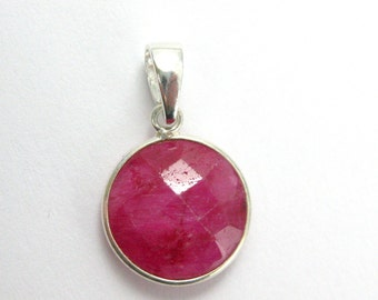 Bezel Pendant with Bail- Ruby Dyed Gemstone Pendant- Sterling Silver Round Coin Gem, Bezel Pendant Ready for Necklace -24mm-SKU: 601111-RUB
