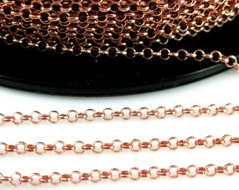 Rose Gold Chain, Rose Gold plated Chain,Gold over Sterling silver Rolo Chain- Bulk Chain by the foot-2mm Rolo Chain (3 feet) -SKU: 101005_RG