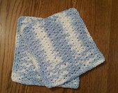 Crochet Dishcloth in Blue and White set of 2
