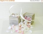 "Flower Girl Basket  + White Distressed Flower girl basket 5"" x 5""(Set of 2)"