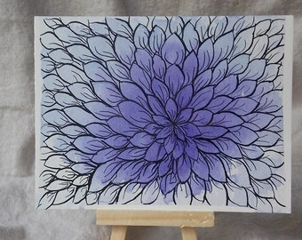 Abstracty Watercolor Chrysanthemum Note Cards